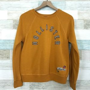 Yellow Crewneck Sweatshirt Spell Out Hollister